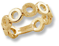 Modern Band Ring 10k Yellow Gold Polished Frosted Finish