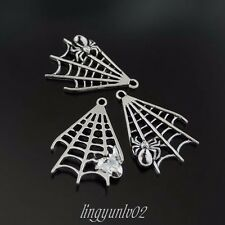 20pcs Jewelry Finding Antique Silver Tone Alloy Spider Web Charms Pendant
