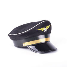 Black Pilot Hat Captain Cap Adult Kid
