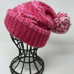 INC Womens Beanie Hat Bright Pink Chenille with Large Pink White Pompom One Size