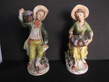 """Homco Victorian Porcelain Bisque Set of 2 Figurines 1258 """"Vineyard Harvest"""" VTG"""