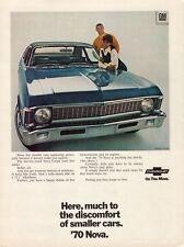 1970 Chevrolet Nova Coupe Blue Car African American Vintage Color Photo Print Ad