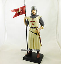 Crusader Knight MEDIEVAL Figurine Chevaliers Templiers Avec Bannière statue figurine NEUF