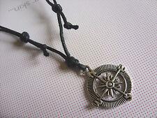 Schwarz Wachs Kordel Kompass Charme Anhänger Halskette Hippie Boho Surfen Wunsch