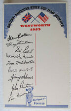 COLORFUL PENFOLD CARD FROM THE 1953 RYDER CUP AT WENTWORTH TO GET AUTOGRAPHS