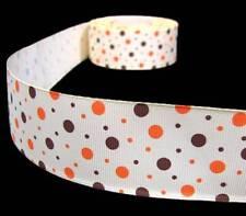 "3 Yards Autumn Fall Brown Orange Polka Dot Ivory Cream Grosgrain Ribbon 1 1/2""W"