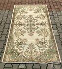 Anatolian Traditional Beige Carpet Turkish Vintage Handmade Wool Area Rug 4x7 ft