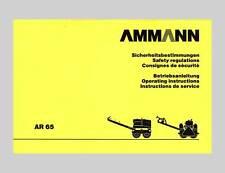 Ammann Tandem Vibrationswalze AR 65 Betriebsanleitung Original 1998