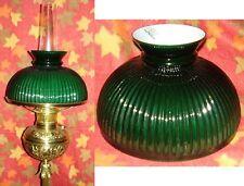 "10"" GLASS STUDENT SHADE GREEN RIB or ribbed / antique kerosene oil electric lamp"