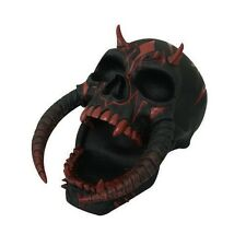 "Black Sabretooth Demon Skull Head Figurine Statue Horror Decoration 8.25"" Long"