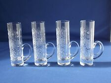 Set 4 Thin Tall Handled Shot Glass Clear Crystal Glass Star Flower Cross Etched