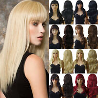 Full Wig Synthetic Hair Heat Resistant Curly Straight Wave Black Brown Blonde Us