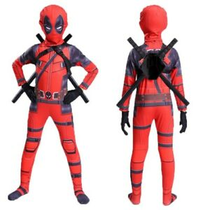 Child Deadpool Cosplay Costumes Mask+Jumpsuit+ Wood Swords+Backpack Full Set