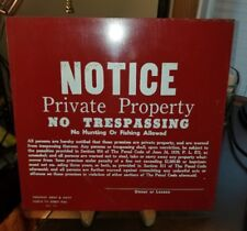 VINTAGE METAL NO TRESPASSING HUNTING FISHING SIGN ALLENTOWN PA HIGHWAY ARMY NAVY