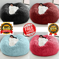 Lazy Sofa Cover Microsuede 7ft Foam Giant Bean Bag Living Room Chair bed soft