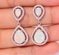 Lady 925 Silver White Topaz Opal Hoop Dangle Earrings Wedding Birthday Gift