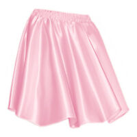 Pink - Women Girl Satin Short Mini Dress Skirt Pleated Retro Elastic Waist Club