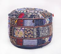 Patchwork Bohemian 22 x12 Inch Vintage Indian Floor  Ottoman Pouffe Cover PUF-4