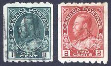 Canada 1913 1c-2c PERF 8 x IMPERF SG 224a-224b Scott 123-124 VFU Cat £100($151)