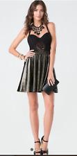 Bebe XS Black & Gold Lace Metallic Velour Dress