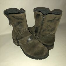 Clarks Collection Women's 6.5M Brown Distressed Dual Zip Ankle Boots Lug Sole