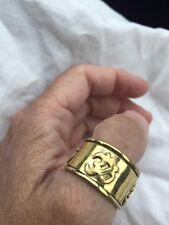 Vintage Tibet Tribal Ohm Shanti Size 10 Golden Brass Ring