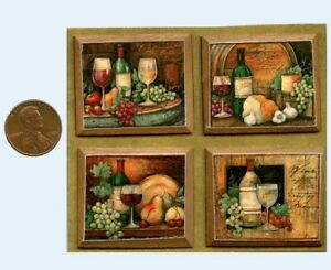 Wine Still Life Pictures On Cherry Wood Plaque DOLLHOUSE MINIATURES 1:12 SCALE
