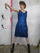 Kleid schwarz blau Glitter Damenkleid Silvester 70er TRUEVINTAGE party dress