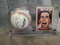 Christian Bale Signed Baseball With Card Display Beckett Rare Batman American ps