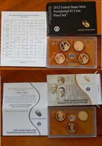 2012 & 2016 U.S. MINT PRESIDENTIAL $1 COIN PROOF SET original box and COA 2 SETS