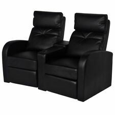 #vidaxl 2 Seater Leather Sofa Couch Home Theatre Cinema Lounge Recliner Black