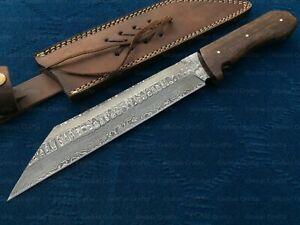 Custom Handmade Damascus Steel Seax Knife, Bowie Knife, Fully Functional