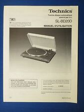 TECHNICS SL-BD20 TURNTABLE OWNER OPERATING MANUAL ORIGINAL FACTORY FRENCH ISSUE