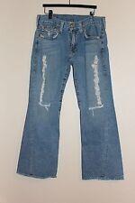 Mens TRUE RELIGION BRAND JEANS 34x33 Joey Boot Cut Blue Denim Flap Pocket Ripped