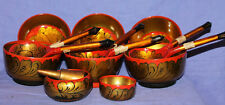 Vintage Russian Khokhloma hand painted wood set 8 bowls and 6 spoons and pestle