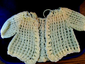 Vintage Hand Crocheted Cream & blue Baby Sweater, Booties & Cap