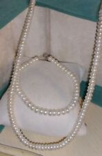 Vintage/Estate 10k yellow gold button white pearl Bracelet & Necklace Set Lot