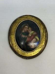 Hand Painted Continental Plaque In A Gilt Frame.