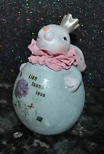 NEW BUNNY RABBIT KING w/CROWN FIGURINE EASTER DECOR Glittered Vintage Style