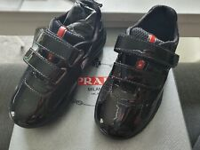 Boys Authentic Prada Calzature Baby Size 24 Black Leather Velcro Trainers In Box