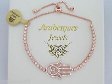 ARABESQUES JEWELS ROSE GOLD/STERLING SILVER/CRYSTAL HAMSA HAND TENNIS BRACELET