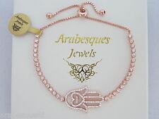 ARABESQUES JEWELS ROSE GOLD/STERLING SILVER/CRYSTAL HAMSA HAND TENNIS BRACELET