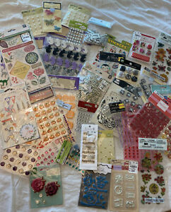 Huge lot of 40 Stickers and Embellishments scrapbooking rhinestones Lot 669