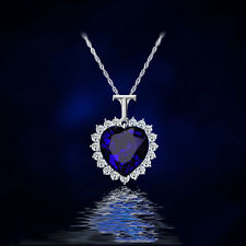 Fashion Crystal Blue Heart Shape Pendant Necklace Long Chain Charm Jewelry Gifts