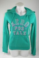 Aeropostale Green Hoodie with Sparkle Letters Women's Size Medium Cotton Blend G