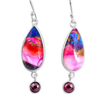 13.64cts Spiny Oyster Arizona Turquoise Garnet 925 Silver Dangle Earrings R62432