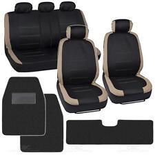 "13pc Seat Covers & Floor Mats for Car Black/Beige w/ Hefty Trim Mats ""Venice"""