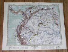 1932 ORIGINAL VINTAGE MAP OF COLOMBIA ECUADOR VENEZUELA PANAMA SOUTH AMERICA
