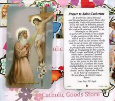 Saint. Catherine of Siena with Prayer to St. Catherine  - Laminated Holy Card