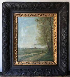 PISSARRO Original Impressionist Oil Painting Walker to the Pontoise Factories
